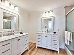 Master Bathroom with 2 Vanities; Walk in Shower!
