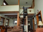 Large loft has 2 kids rooms, full bath and an extra queen bed on the loft..