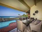 Seating for 9 on the pool side Lanai table