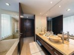 Master bath with huge soaking tub and large glass shower