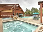 The community hot tubs and pool are a great place to loosen up your muscles!