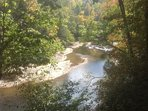 Early color change on the South Toe River, photo taken from porch of Main Cabin.