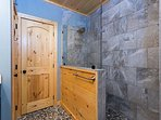 Large walk in shower in the master bath.