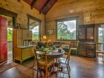 Gather around the 4-person dining table to enjoy a home-cooked meal with family and friends.