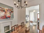 This newly renovated home has been decorated with tasteful artwork.