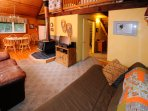 View of living room of Alyeska Cabin