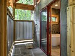 If you prefer to be outside, rinse off in the outdoor shower.