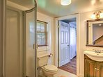 Guests will enjoy the privacy provided by this bathroom.