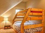 The loft comfortably sleeps 3 with a twin-over-full bunk bed.