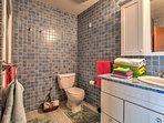 Rinse off in the master's en-suite bathroom.