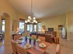 Share home-cooked meals at the elegant dining table.