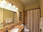 A separate full bathroom allows everyone to wash up in privacy.