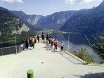 viewpoint over halstatt from salt mine funicular