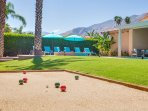 Country Club Backyard with Bocce Ball Court