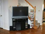 Flat screen TV and large selection of DVD's.