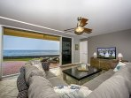 Spacious living room with comfy couch and outrageous views!