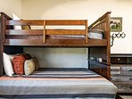 Third bedroom with bunk beds has twin over double