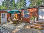 The back deck offers a patio set and fantastic spot to soak up the fresh air!