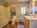 Freshen up for the day in this clean bathroom!