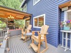 Enjoy your morning cup of coffee in either of the 2 Adirondack rocking chairs.