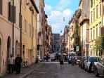 Vista di Borgo Pio e della Porta Sant'Anna del Vaticano