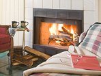 Enjoy a hot beverage and a good book next to a crackling wood burning fireplace.
