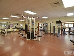 The fully-equipped fitness center located at the SV Rec Center.