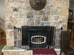 great in fall/winter/spring, wood burning fireplace/stove w. free wood