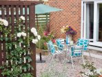 Our lovely sunny garden, the perfect place to relax, with a coffee....or a glass of vino!