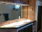Twin sinks in the bathroom - underfloor heating too!