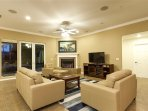 Couch, Furniture, Entertainment Center, Fireplace, Hearth