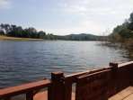 Magnificent view from the lakeside deck at 'Serenity Now' Chalet