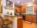 Kitchen island with breakfast bar seating