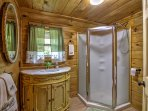 The master bathroom offers a walk-in shower.