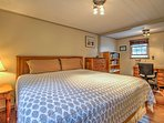 Two guests will sleep comfortably in the king bed in the master bedroom.
