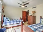 The second bedroom also features 2 twin-sized trundle beds.