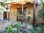Newly groomed and designed entry courtyard shared by main house and Casita Kachina
