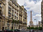 View of the Eiffel Tower from a street located 50 meters from the apartment