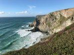 Cornish coastal path views, a 20 minute walk away