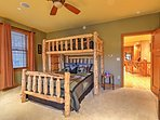 The bear loft is an airy room with a twin-over-queen bunk bed!