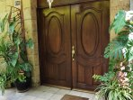 Front door after coded security gate