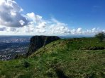 Cave Hill offers fantastic views over Belfast, just less than 2 miles away