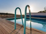 Lovely heated pool with a view over the river yet 10 mins from the centre of town
