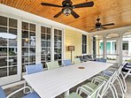 Savor meals outside in the screened-in porch.