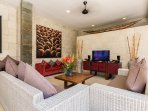 Open living area with LCD TV