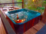 private Jacuzzi hot tub on covered deck with views