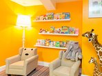 The kids can catch up on the latest novel in this reading nook in the Kid's Club.