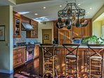 Your family chef will enjoy cooking in the bright and spacious kitchen.  Seating for 3 at the breakfast bar