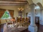 There's seating for 8 in the dining area, plus two extra chairs in the family room nook