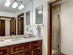 Ensuite bathroom adjacent to Master bedroom #3 has a walk-in shower.
